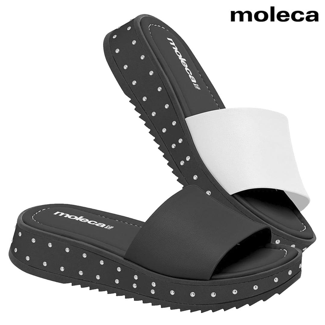Tamanco Flatform Feminino Anabela Moleca Conforto Sandália de Dedo Plataforma Casual Preto Branco Liso Original com Strass Birken Pedraria - 5456.204