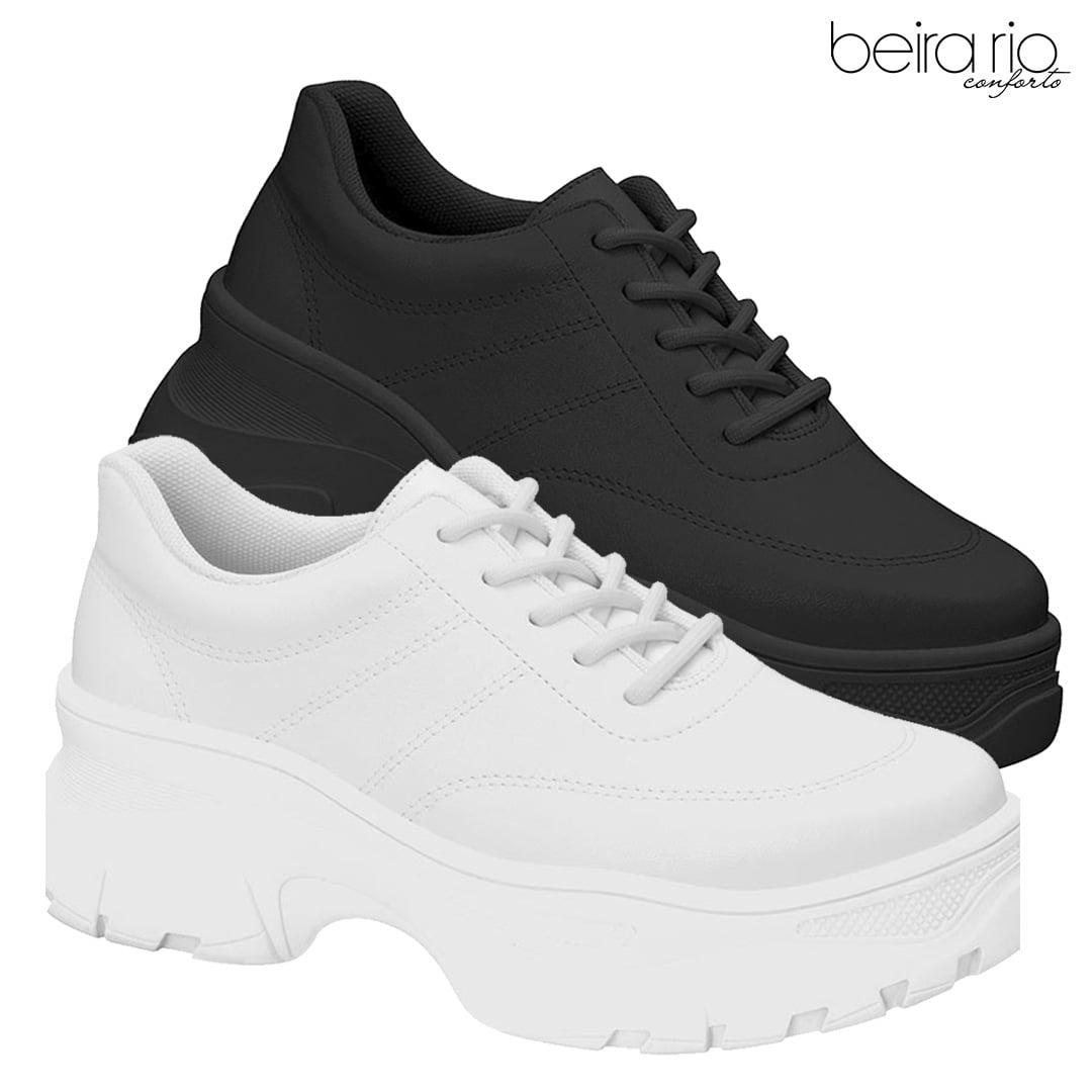 Tenis Sneaker Feminino Chunky Ugly Sola Alta Beira Rio Conforto Buffalo Liso Branco Preto - 4262.100